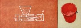 """""""Case of plastic"""", 1997, olje på lerret (diptyk), 54,5 x 154 cm"""