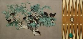 """""""Hunting"""", olje på lerret (diptyk), 109 x 231,5 cm, 2001"""