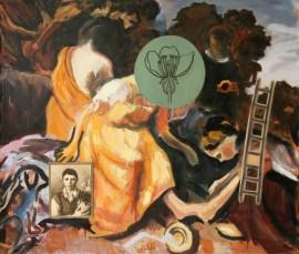 """""""Snitt"""", 1993, olje på lerret/assemblage, 130 x 150 cm"""
