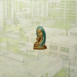 """International—suburb"", olje på lerret, 125 x 125 cm, 2001"