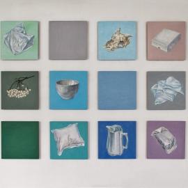"""Hvit periode"", olje på treplater, 18 stk. à 40 x 40 cm, 2013-2016"
